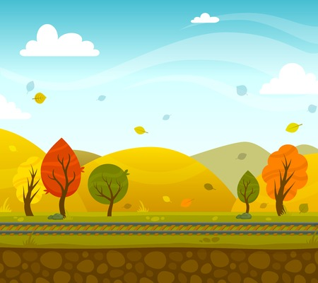 2d wallpaper: Game 2d autumn park landscape with railroad and hills on background vector illustration Illustration