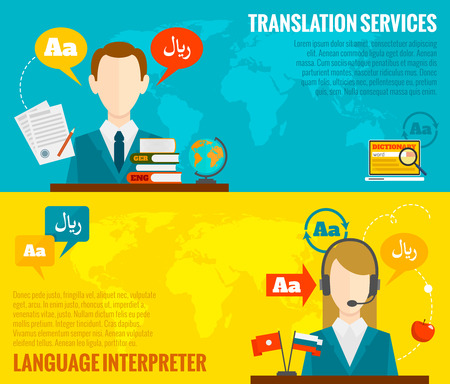Face to face synchronic translation services and international court legal interpreting flat banners set abstract vector illustration Vector