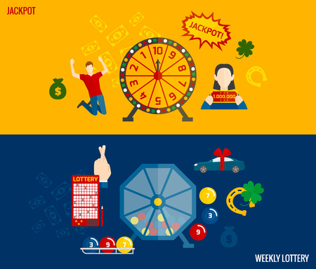 lottery: Lottery games flat banners horizontal set with machine to draw winning numbers and prizes abstract vector illustration