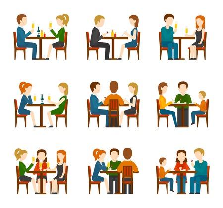 Groep die mensen en in restaurant of koffie vlakke pictogrammen eten spreken geplaatst geïsoleerde vectorillustratie