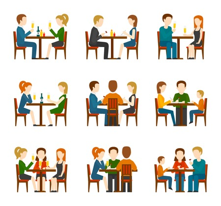 friends eating: Group of people eating and talking in restaurant or cafe flat icons set isolated vector illustration