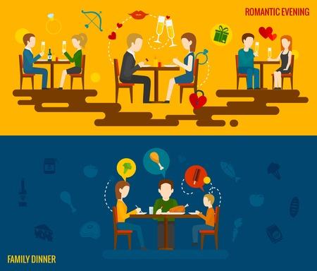 familia comiendo: La gente en el restaurante banner horizontal establecen con elementos románticos de la tarde y la cena familiar aislado ilustración vectorial Vectores