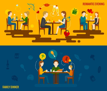 family dinner: People in restaurant horizontal banner set with romantic evening and family dinner elements isolated vector illustration