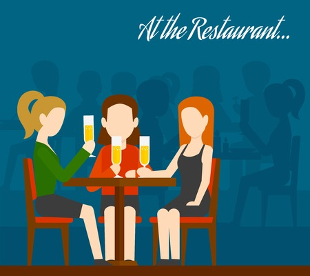 young woman sitting: Three young girls sitting at table drinking champagne with people silhouettes on background friends meeting in restaurant flat vector illustration
