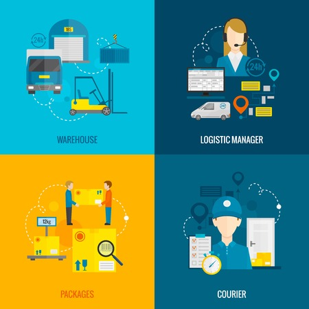 Logistic design concept set with warehouse manager and courier flat icons isolated vector illustration