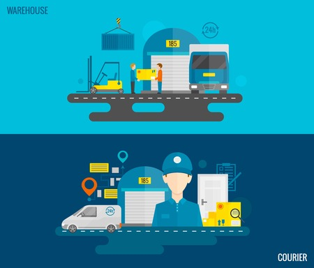 warehouse cargo: Logistic horizontal banner set with warehouse and courier flat elements isolated vector illustration