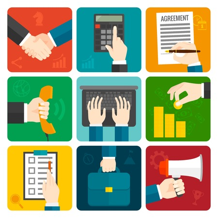 checklist icon: Business hands with megaphone briefcase phone flat icons set isolated vector illustration