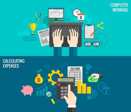 calculating: Business horizontal banners set with hands working on computer and calculating expenses isolated vector illustration Illustration
