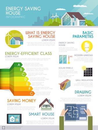 eficiencia energetica: Ahorro de energía infografía casa conjunto con símbolos inteligentes de monitoreo en casa y gráficos ilustración vectorial Vectores