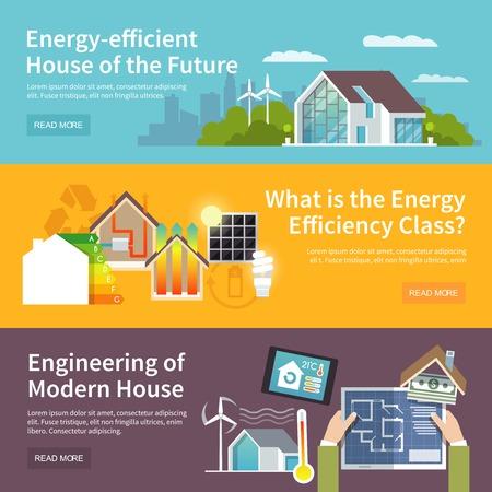 control de calidad: Energ�a casa ahorrando banner horizontal conjunto con elementos del sistema de control de temperatura aislado ilustraci�n vectorial