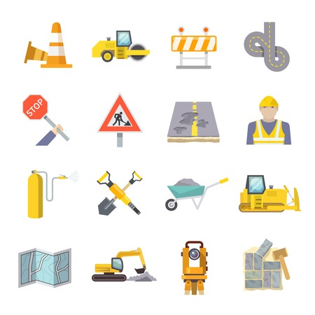 construction plans: Road worker flat icons set with construction industry symbols and tools isolated vector illustration