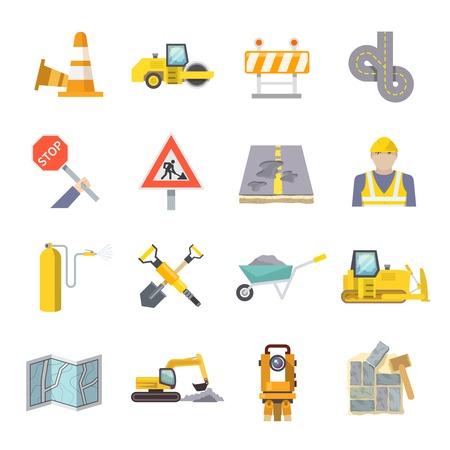 Travailleurs de la route icônes plates fixées avec des symboles et des outils de l'industrie de la construction isolé illustration vectorielle Vecteurs