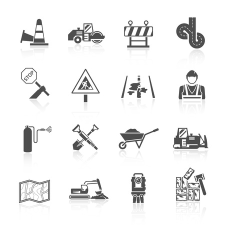 computer repairing: Road worker transport industry black icon set isolated vector illustration Illustration