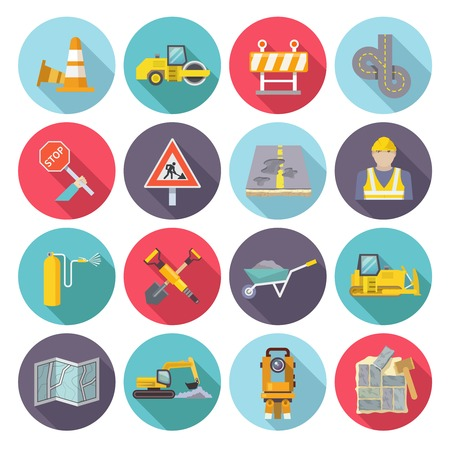 repairing: Road worker flat icons set with street repairing tools and warning signs isolated vector illustration