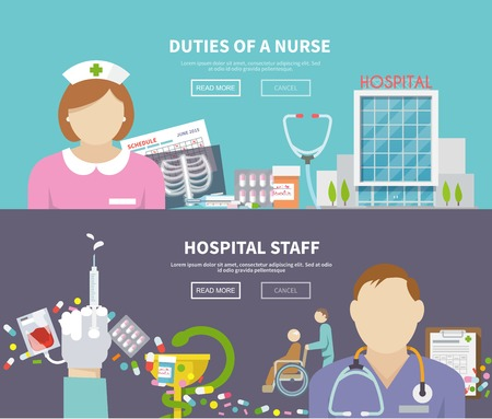 heart hard work: Nurse horizontal banner set with hospital staff elements isolated vector illustration