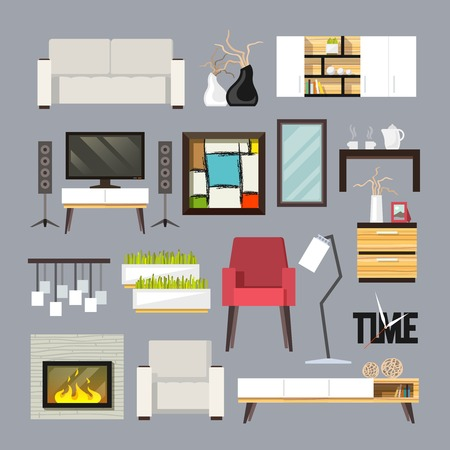 dining set: Living room furniture decorative icons set with sofa bookshelf tv table isolated vector illustration