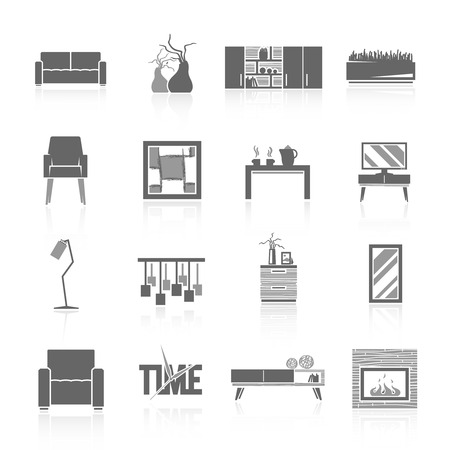 modern home: Modern home living room furniture black icons set isolated vector illustration
