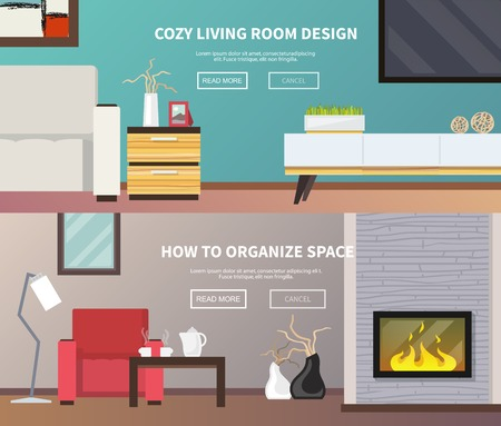 furniture: Living room interior design and furniture horizontal banner set isolated vector illustration