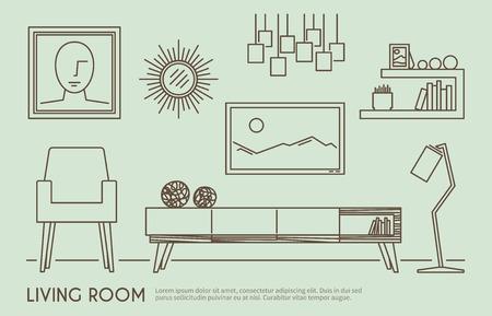 orologio da parete: Living room interior design con mobili contorno illustrazione vettoriale set