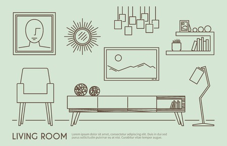 home icon: Living room interior design with outline furniture set vector illustration Illustration