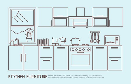 a kitchen: Modern kitchen furniture interior design with utensils and decor outline vector illustration