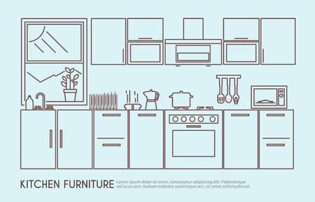 Modern kitchen furniture interior design with utensils and decor outline vector illustration