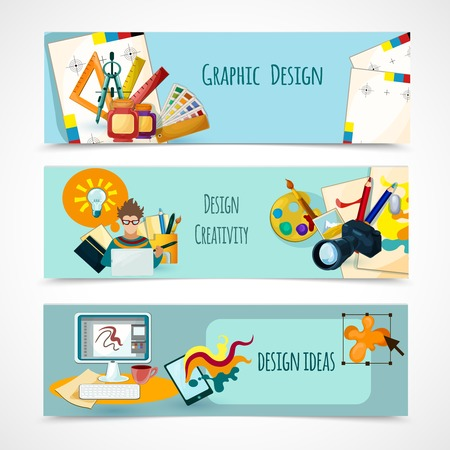 Graphic And Web Design Horizontal Banner Set With Flat Elements ...