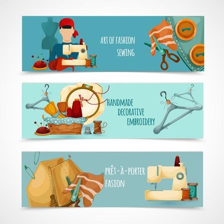 maquinas de coser: Coser banner horizontal establece con Elemenets decorativos bordado aislado ilustración vectorial