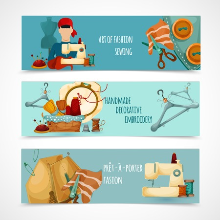 Sewing horizontal banner set with decorative embroidery elemenets isolated vector illustration Illustration
