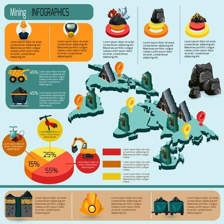 mining equipment: Mining industry infographics set with mineral extraction and production plants isometric elements and charts vector illustration Illustration