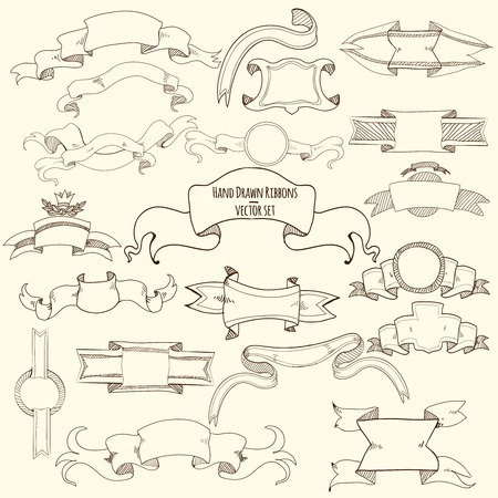titles: Hand drawn vintage titles blank ribbons set isolated vector illustration Illustration