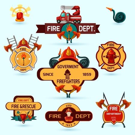 camion de bomberos: Voluntarios bombero y emblemas departamentales profesionales conjunto aislado ilustración vectorial