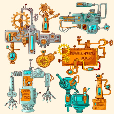 technically: Industrial machines technically detailed doodles colored set isolated vector illustration