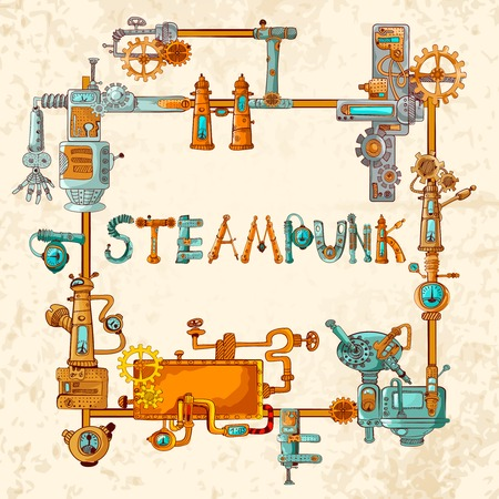 Steampunk frame with industrial machines gears chains and technical elements vector illustration Illustration