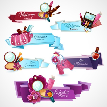 Cosmetics banner set with make-up manicure and body care products isolated vector illustration Illustration