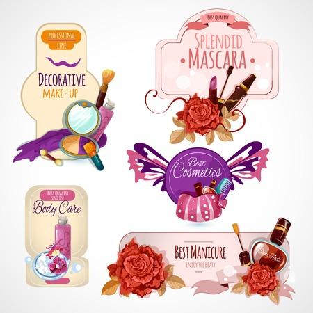 cosmeticos: Cosméticos etiqueta establece con la piel de maquillaje y cuidado del cuerpo aislado ilustración vectorial