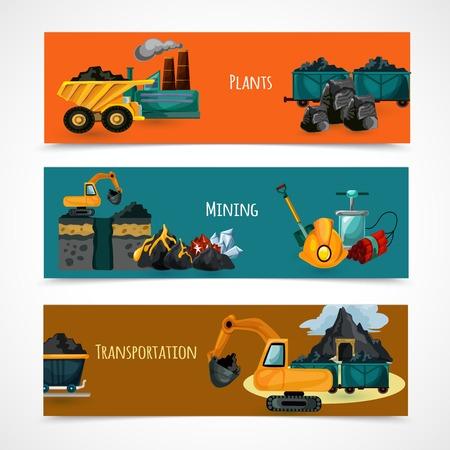 mineria: Industria minera banners horizontales establecen con los elementos de extracci�n y transporte de minerales aislados ilustraci�n vectorial