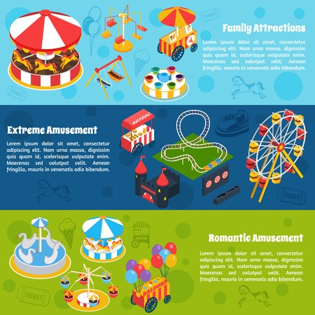 carnival: Amusement horizontal banners set with isometric romantic family and extreme attractions isolated vector illustration Illustration