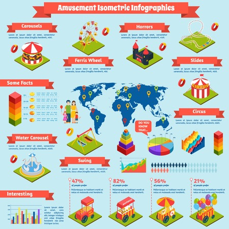 ferriswheel: Amusement infographics set with attractions isometric symbols and charts vector illustration Illustration
