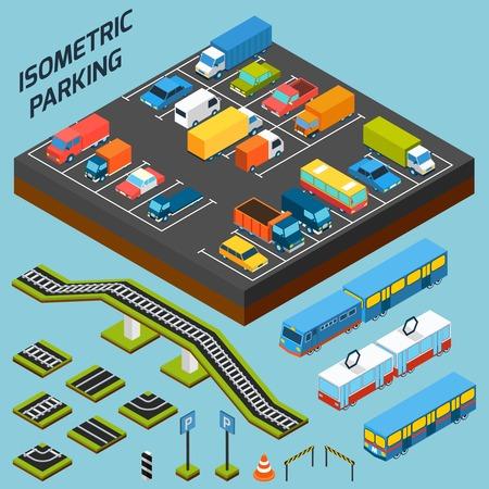 chofer de autobus: Aparcamiento isométrica con coches camiones y autobuses 3d y elementos aislados ilustración vectorial