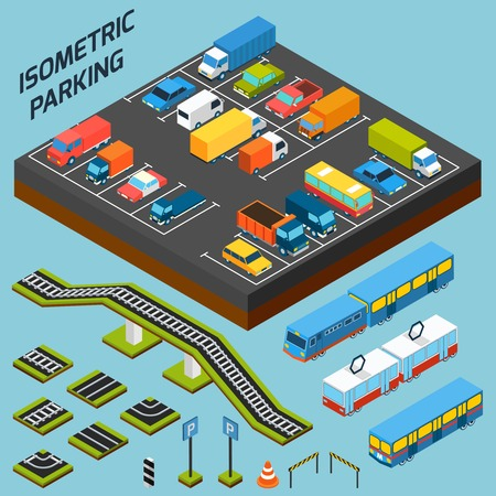 car driver: Isometric parking with 3d cars trucks and and buses elements isolated vector illustration