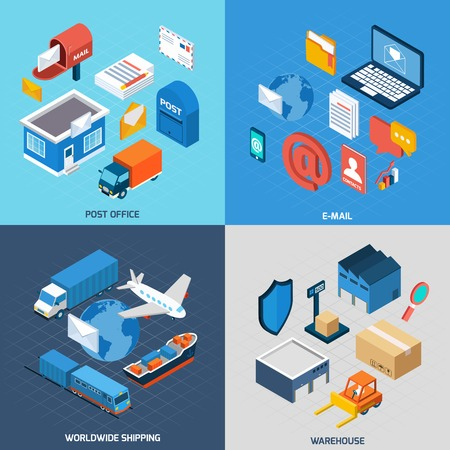 buzon: Correo concepto de diseño conjunto con la oficina de correos de correo electrónico de entrega y almacenes en todo el mundo los iconos isométricos ilustración vectorial aislado