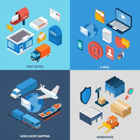 Mail concept design set con l'ufficio postale di posta elettronica di consegna in tutto il mondo e di magazzino icone isometrico illustrazione vettoriale isolato