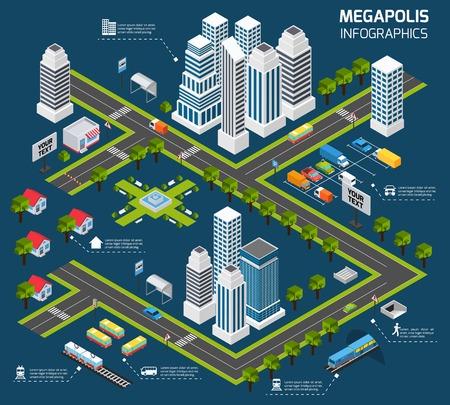 수송: 3D 마천루 사무실 건물과 거리 수송 벡터 일러스트 레이 션 아이소 메트릭 도시 개념
