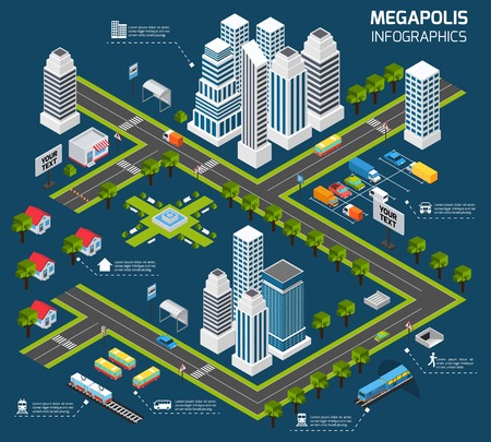 Isometric city concept with 3d skyscraper office buildings and street transport vector illustration Ilustrace