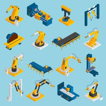 maquinaria: Maquinaria robot isom�trica operadores remotos mec�nicos 3d iconos conjunto aislado ilustraci�n vectorial Vectores