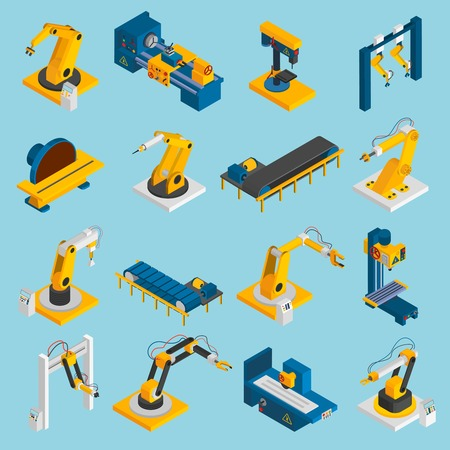 Isometric robot machinery remote mechanical operators 3d icons set isolated vector illustration