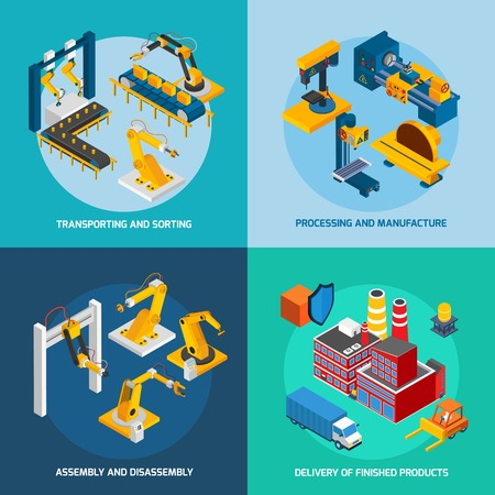 industry concept: Robot machinery design concept set with transporting sorting processing and manufacture isometric icons isolated vector illustration Illustration