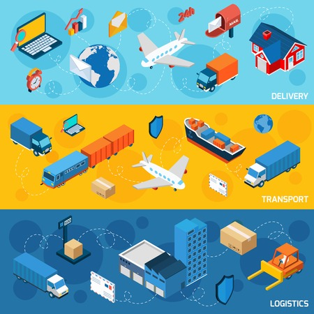 package shipment: Logistics banner horizontal set with delivery and transport isometric elements isolated vector illustration