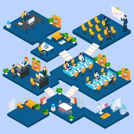 Multistory office isometric with business people and interior 3d icons vector illustration